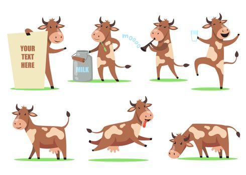 Funny cartoon cow set