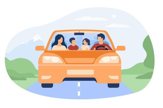 Happy family travelling in automobile