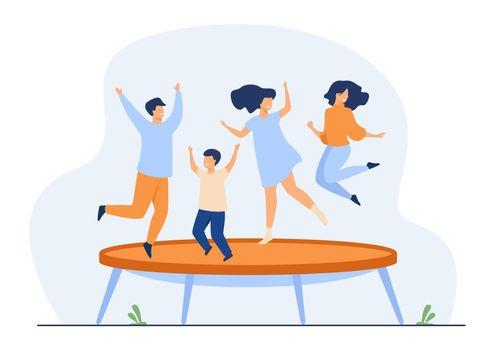 Happy friends jumping on trampoline