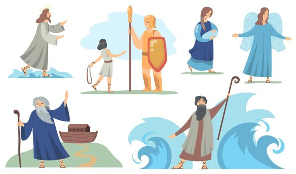 Holy bible Christian characters set