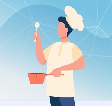 Male chef with utensil wearing cook hat