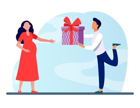Man giving gift to his pregnant wife