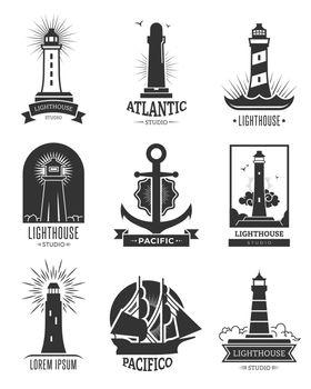 Nautical shipping logo set