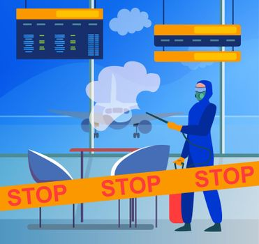Person in protective costume disinfecting airport from virus