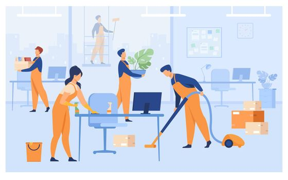 Professional janitors working in office