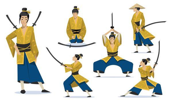 Samurai in different poses set