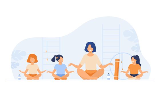 Teacher and kids sitting in yoga pose