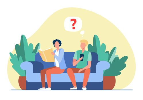 Two guys sitting on sofa with newspaper and smartphone