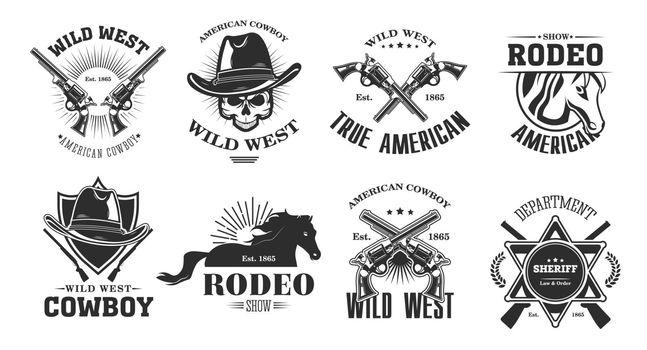 Wild west emblems set