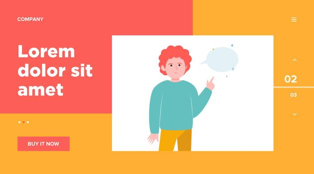 Red-haired guy pointing at empty speech bubble