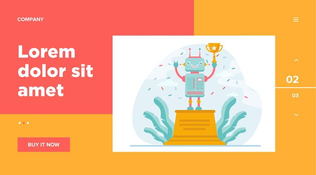 Robot winning golden cup