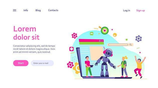 School activity and robotics class concept