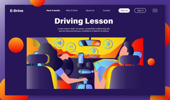 Driver and passenger navigating on road within map