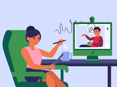 Businesswoman having online conference with partner or colleague