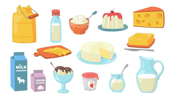 Dairy products flat icon set
