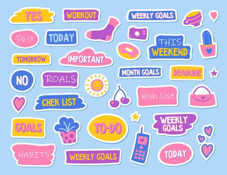 Diary and planner flat stickers set