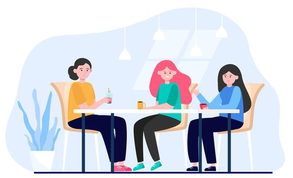 Female friends hanging out in cafe