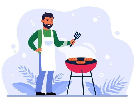 Happy man grilling bbq meat