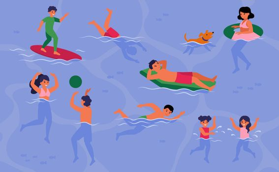 Happy people swimming in pool or sea