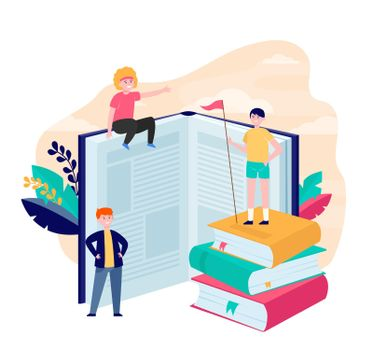 Happy sporty readers among books
