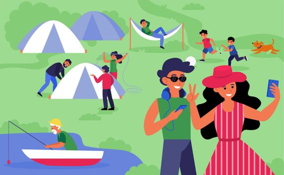 Happy tourists camping