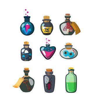 Magic potion bottles flat icon set