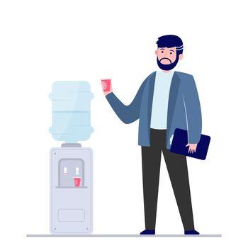 Man drinking water at cooler