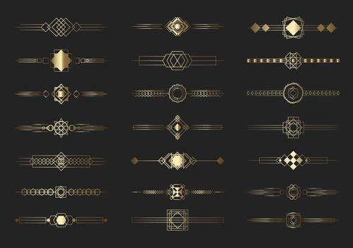 Modern golden divider lines set