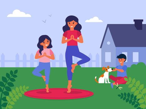 Mother and daughter practicing yoga in back yard