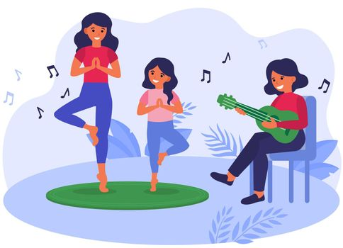 Mother and daughter practicing yoga to acoustic music