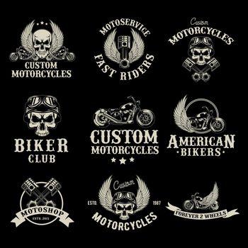 Motor bike shop logo set