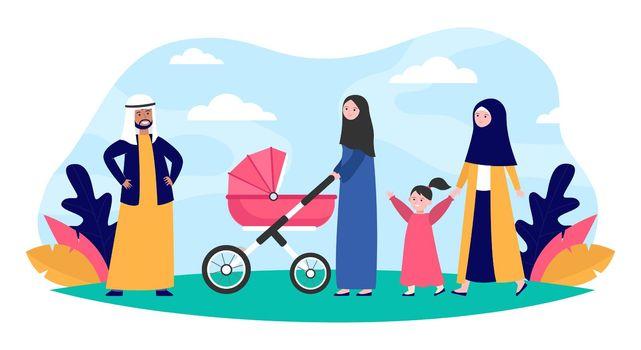 Muslim family walking in park