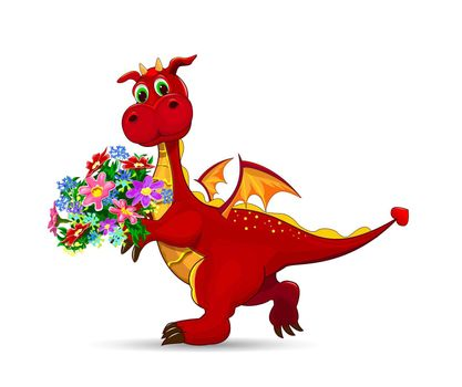 Red dragon with a bouquet of flowers