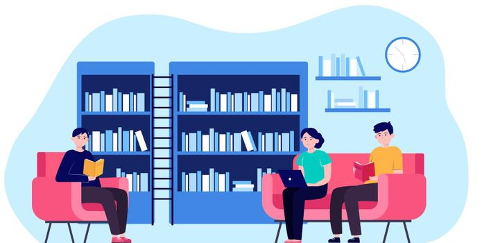 People in library flat vector illustration