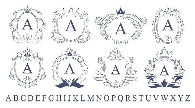 Retro ornate monogram emblems set