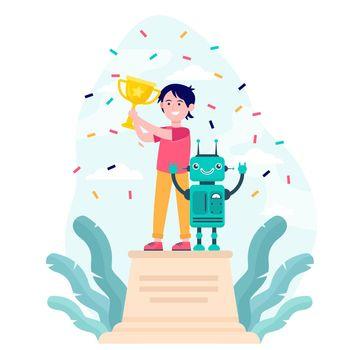 School child winning robotics competition