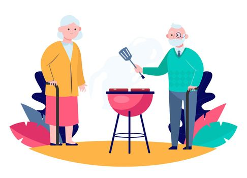 Senior couple cooking BBQ meat in garden