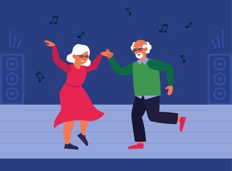 Senior couple on dance floor