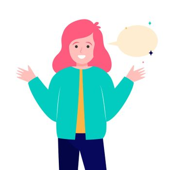 Smiling girl and empty speech bubble