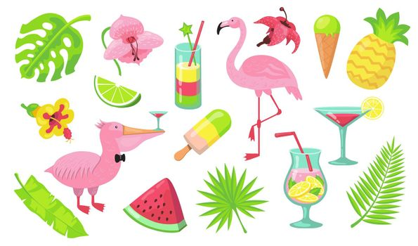 Summer beach party elements set