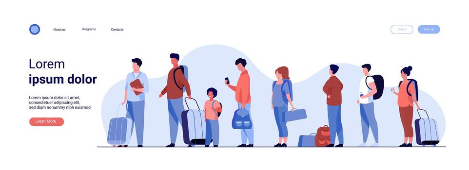 Group of tourist with luggage standing in line