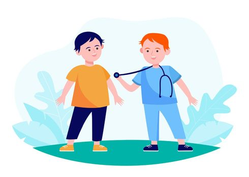 Boys acting doctor and patient