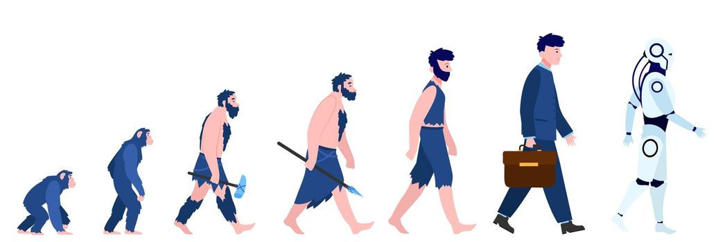 Cartoon human evolution isolated flat vector illustration
