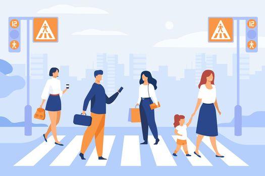 Cartoon pedestrians walking through crosswalk
