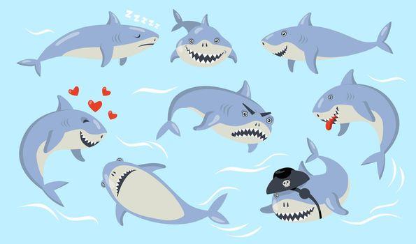 Cartoon shark different emotions set