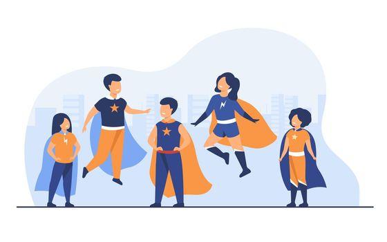 Children playing superhero characters