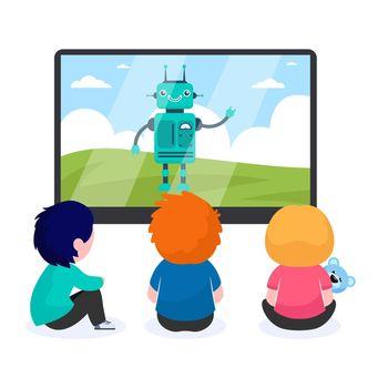 Children watching cartoon with robot