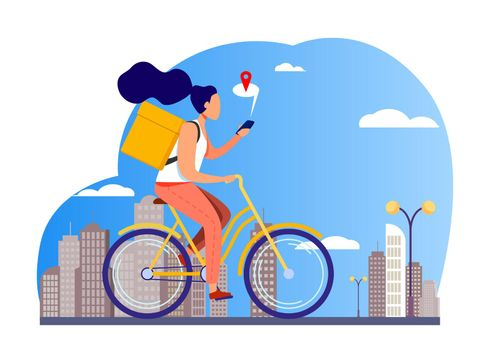 Courier riding bike and checking address on phone