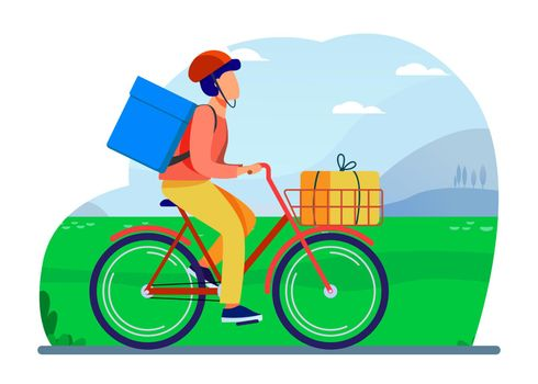 Courier riding bike with parcels