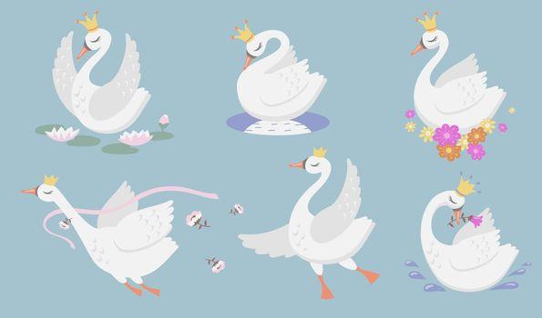 Cute princess swan flat icon set